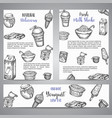 dairy sweet brochure collection hand drawn vector image vector image