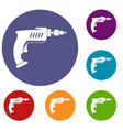 drill icons set vector image vector image