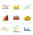 economic graph icons set flat style vector image