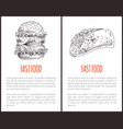 fast food monochrome poster vector image vector image