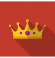 Flat crown with long shadow icon vector image vector image