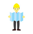 foreman with site plan graphic vector image