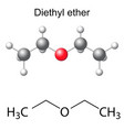 Formula and model of diethyl ether molecule vector image vector image