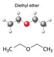 Formula and model of diethyl ether molecule vector image vector image