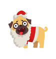 funny pug dog character dressed as santa claus vector image
