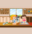 girls cleaning dish in kitchen vector image