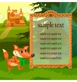 Golden frame fox and wooden castle in woodland vector image