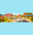 group of pupils walking on crosswalk mix race vector image vector image