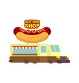 hot dog car food truck fast food car vector image