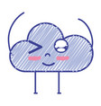 kawaii nice funny cloud with arms vector image vector image