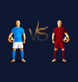 light blue and dark red soccer players holding vector image vector image