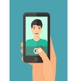 Man taking selfie vector image