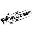 megaphone with an appeal - welcome vector image