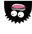 monster head silhouette two eyes teeth tongue vector image vector image