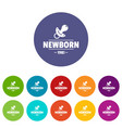 newborn pacifier icons set color vector image vector image