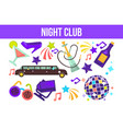 night club partying elements limo and hookah disco vector image