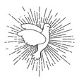 pigeon peace symbol side view flying with linear vector image vector image