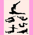 pilates training sports women silhouette vector image