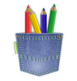 pocket with pencils vector image vector image