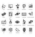 school subjects black glyph icons set vector image
