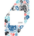 seafood a5 flyer design hand drawn fish shellfish vector image vector image