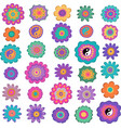 set of colorful hippie flowers vector image vector image