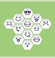 set of white hex head with emotion signs vector image vector image