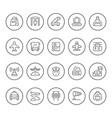 set round line icons airport vector image