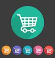 shopping cart icon flat web sign symbol logo label vector image vector image