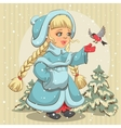 Snow Maiden in blue fur coat feeds bullfinch vector image vector image