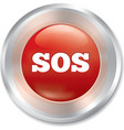 Sos button Metallic icon on white background vector image vector image