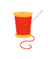 spool of bright red threads and silver needle vector image