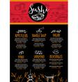 Sushi restaurant menu template design vector image vector image