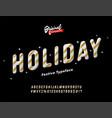 vintage golden slanted holiday alphabet vector image vector image
