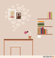 Workstation and bookshelf with heart wallpaper vector image vector image