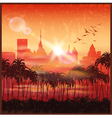 a city at sunset vector image