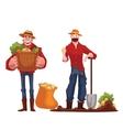 Man harvesting potato in the field vector image