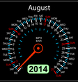 2014 year calendar speedometer car in August vector image vector image