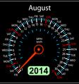 2014 year calendar speedometer car in August vector image