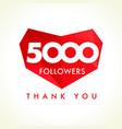 5000 followers thank you heart vector image vector image
