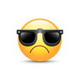 angry emoji face with sunglasses cute sad vector image vector image