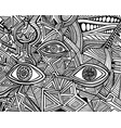 black and white psychedelic eyes crazy patterns vector image vector image