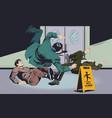 businessmans falls on wet floor warning sign vector image vector image