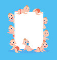 cartoon babies banner newborn children with empty vector image vector image