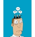 Cartoon man with with different thoughts in his vector image vector image