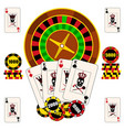 casino composition with roulette wheel playing vector image