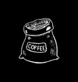 coffee sack white chalk on black chalkboard vector image vector image