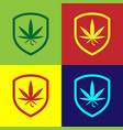 color shield and marijuana or cannabis leaf icon vector image vector image