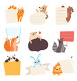cute animals holding empty banners set funny vector image vector image