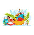 cute tiny kids celebrating winter holidays merry vector image vector image